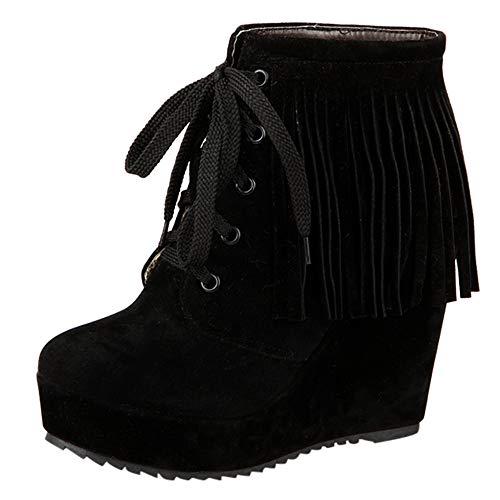 Botas para Mujer,Mujeres Moda con Cordones cuñas Zapatos Flecos de tacón Alto Botas Cortas Botines Mujer Otoño Invierno cálido Botas Zapatos de Nieve Mujers Botines de Plataforma Zapatos de tacón