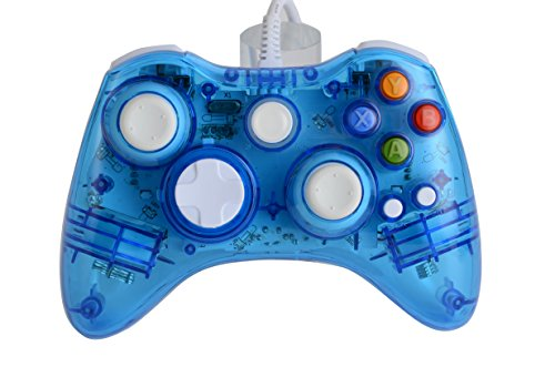 Price comparison product image Althemax® Wireless Game joysticks Remote Controller for Microsoft Xbox 360 Console Windows 10 - Black / White / Pink / Blue / Red (Wired Controller, Transparent Blue)