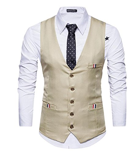 CuteRose Men All-Match Lounge Office Britain Casual Party Wedding Suit Dress XS Khaki -