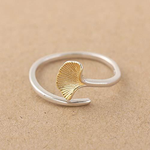 YIYIYYA Frau Offener Ring,Mode S925 Sterling Silber Retro Handwerk Ginkgo Form Gold Damen Offenen Ring Einfache Kleidung Zubehör Freunde Geburtstag Abschluss Abendessen (Der Tag Der Mutter Handwerk Einfach)
