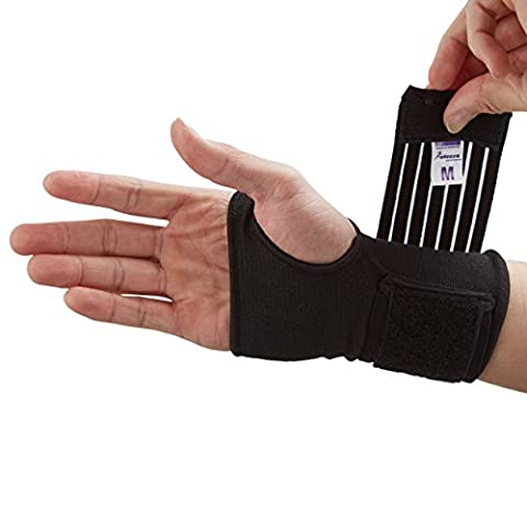 Actesso Elastic Wrist Support With Strap (Black or Beige) (S, Black)- Ideal for Sprains - Strains or Sports Use with no metal bar - Provides excellent support without inhibiting the wrists natural