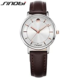 Relojes Hermosos, Mujer Reloj de Moda Cuarzo Resistente al Agua Piel Banda Marrón Marca- SINOBI ( Color : Marrón , Género : Para Mujer )