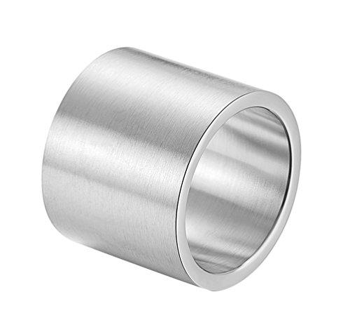 ALEXTINA Herren 19MM Breit Edelstahl Ringe Wickeln Einfach Ring Eben Rohr Schnitt Silber Größe 60 (Mann Silberner Ring Für)