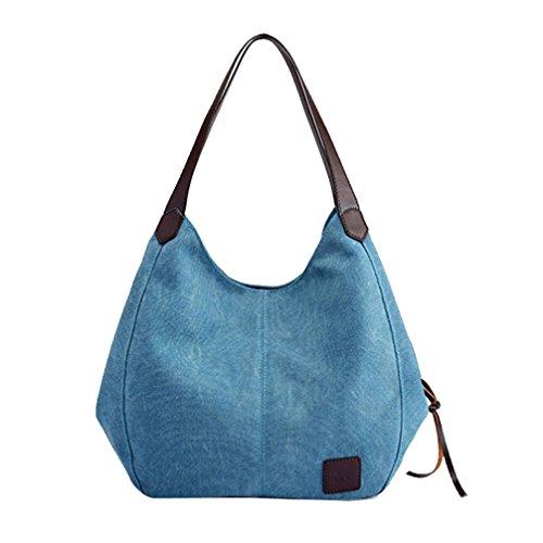 TWBB Damen Segeltuch Einfarbig Einkaufen tragbar Grosse Kapazität Schulter tasche (Blau)