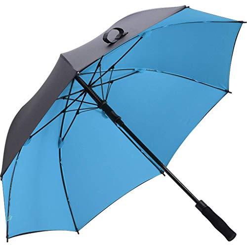Golfschirm Doppelschirm Tuch Großer Taschenschirm mit langem Griff Regen und Regenschirm (Farbe: Blau)