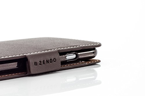 ZENDO iPhone 8/7 Plus Custodia Portafoglio in Pelle (Vera Pelle Europea) con scomparti di carte, chiusura magnetica, kickstand | Kaiga Leather Case [iPhone 8/7 Plus | Nero] Mocca