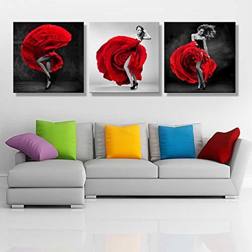 Conveniente Rosa falda roja bailando niña pintura