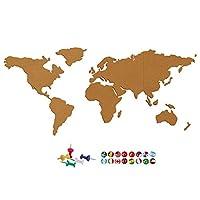 JUSTDOLIFE World Map Pattern Self Adhesive Cork Sheet with 24 Push Pins Cork Board Set Decoration