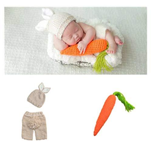 Matissa Baby Kleinkind Neugeborenen Hand gestrickt häkeln Strickmütze Hut Kostüm Baby Fotografie Requisiten Props (Karotten-liebevolles Häschen ()