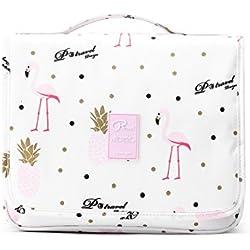 Neceser de viaje con gancho colgante para hombres y mujeres Organizador de bolso cosmético con manija Bolsa de maquillaje bolsa de diseño lindo para accesorios de viaje (Flamingo-P)
