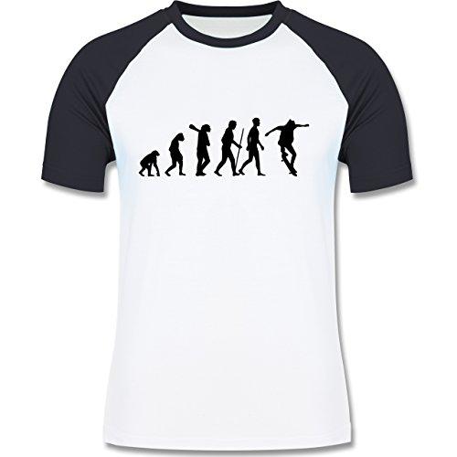 Evolution - Skateboard Evolution - zweifarbiges Baseballshirt für Männer Weiß/Navy Blau