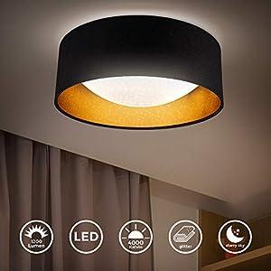 B.K.Licht I LED Stoff-Deckenleuchte mit Sternenhimmeleffekt I Schwarz-Gold I 12W LED-Platine I 1.200lm I 4.000K…
