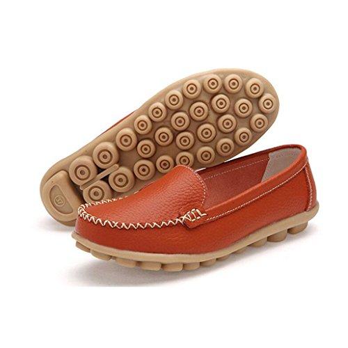 Clode® Frauen Wohnungen Schuhe Slip-on-Komfort-Schuhe Flache Schuhe Loafers Orange