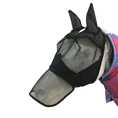 Fliegenmaske für das gesamte Gesicht, komfortabel, atmungsaktiv, Anti-UV-Nasenschutz, Sommer-Netz, Haustierzubehör, Reißverschluss für Pferde, Schutz vor Mücken