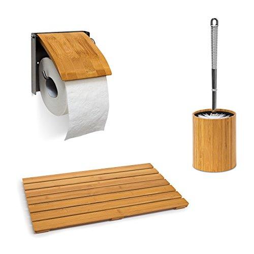 3 tlg. Badzubehör Set Bambus, Badvorleger, WC-Bürstenhalter, Toilettenpapierhalter, Bambusmatte, Toilettenbürste, natur