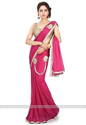 Utsav Fashion Women's Pre Stitched Lycra Saree in Fuchsia