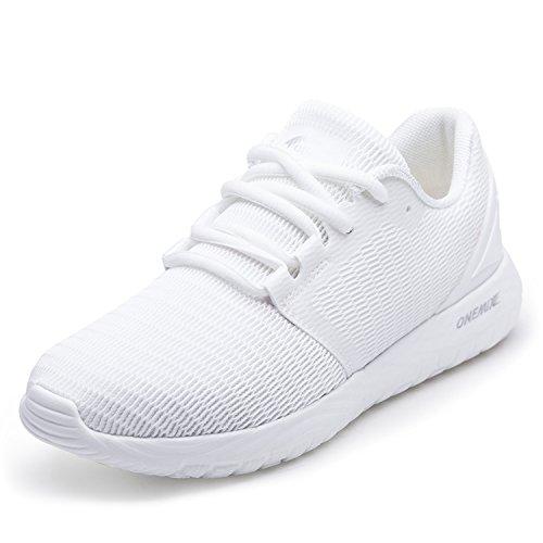 ONEMIX Scarpe da Ginnastica da Uomo, Scarpe da Corsa Casual Sportive Running Fitness Sneakers Bianco 42