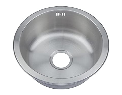 Brushed Stainless Steel Round Bowl Inset Kitchen Sink & Fittings & Waste Kit (M08 bs)