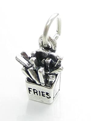 Pommes frites Puces en Argent 925/1000-fast food CF3133 charms