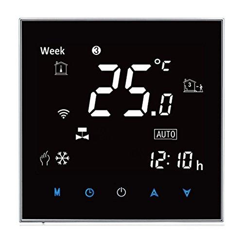 Preisvergleich Produktbild Wasser / Gas Kessel Thermostat BECA Wasser / Gas Kessel Bunte Buchstabe Negative Black Screen 5 + 2 wöchentlich Programmable Room Thermostat (3A für Kessel Heizung (Negative Screen), schwarz)