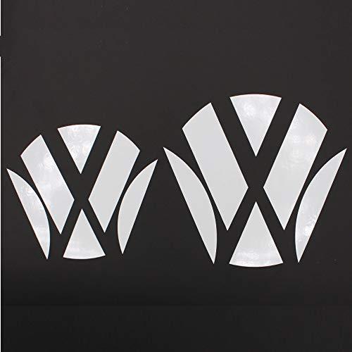 Finest Folia 047 Emblem Ecken Inlays Folie Aufkleber passgenau (Weiß Glanz)