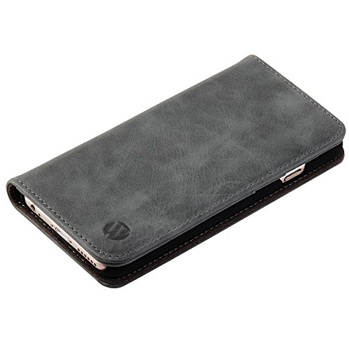 Genuine Leather Wallet Case,Flip Folio Book Cover Magnetic Closure with Stand Function,Card Slots and ID card Holder for Apple iPhone6/6S Plus Dark Brown Gray