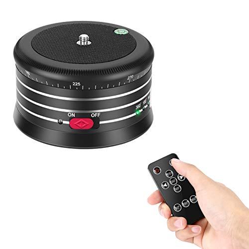 Neewer Panorama Stativkopf mit variabler Geschwindigkeit und Drehrichtung,integrierter wiederaufladbarer Batterie und Fernbedienung für Smartphone DSLR Kamera GoPro -