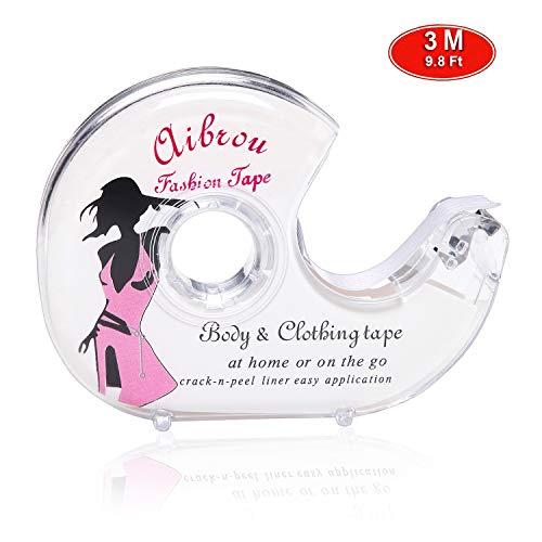 Aibrou Fashion Tape Doppelseitiges Klebeband Unsichtbare Klebe für BH Träger Kleid Damen Bekleidung mit Tiefer V Ausschnitt in 3M/5M