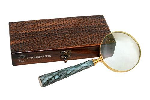 perfekt für die maritime  ... Lupe mit Holzgriff Holz Messing /& Glas  Holzbox