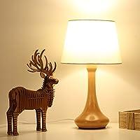 SBWYLT-In legno massello design minimalista studio scrivania lampada lampada da comodino base metro bianco lino paralume moderno accogliente Illuminazione interni