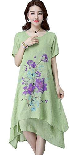 Womens Elegantes Rundhals Kurzarm Ärmel Blumenmuster Zwei Ebenen  Unregelmäßiges Baumwoll Leinen Kleid Grün
