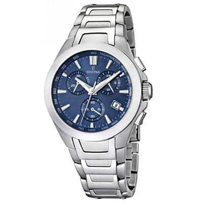 FESTINA F16678/2 - Reloj cronógrafo de cuarzo para hombre con correa de acero inoxidable, color plateado de FESTINA