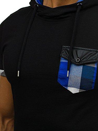 BOLF T-Shirt Motiv Kurzarm Party Herren Kapuze Slim Kariert Motiv 3C3 Schwarz-Blau