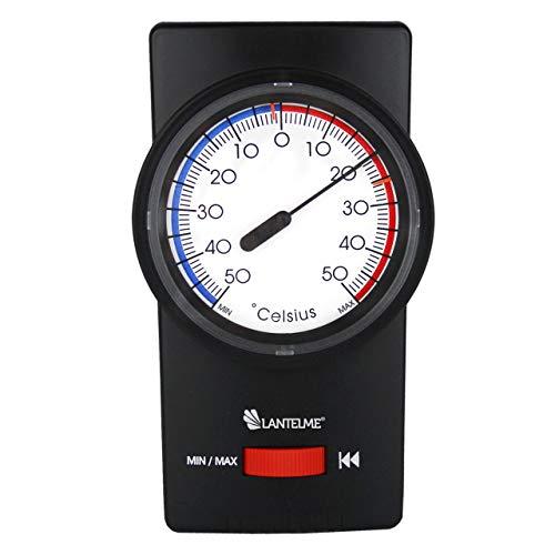 Bimetall Innen - Außen - Garten Min Max Zeiger Thermometer schwarz Gartenthermometer mit...