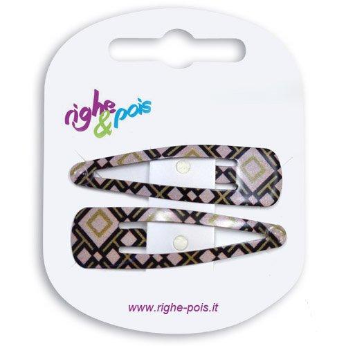 01-509 Lot de 2 barrettes clic clac à cheveux, en métal verni, 5 cm, motifs Aztèques Noisette