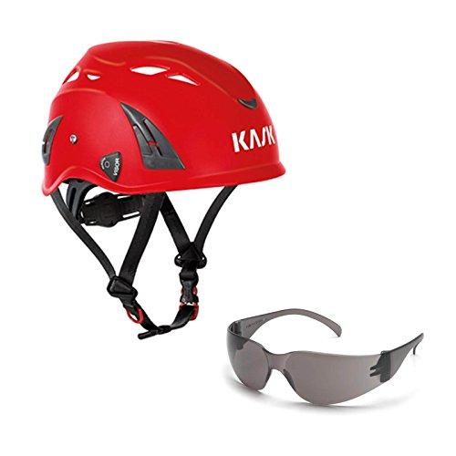 KASK Schutzhelm, Bergsteigerhelm, Industriekletterhelm Plasma AQ - Arbeitsschutz-Helm + Schutzbrille grau - EN 397, Farbe:rot