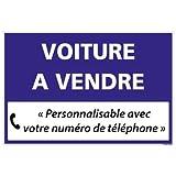 Panneau Personnalisable Voiture à Vendre - Bleu - Plastique Rigide AKILUX 3,5mm - Dimensions 600x400 mm - Protection Anti-UV...
