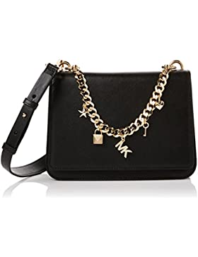 Michael Kors Damen Mott Charm Shoulder Bag Schultertasche, Schwarz (Black), 8x17x23 centimeters