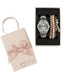 """SIX """"Geschenk"""" Set aus silberner Damen Uhr Gliederarmband Chronograph drei Armbändern rosé Schmetterling in hochwertiger Geschenkbox (388-284)"""