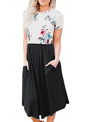 Yidarton Damen Short Sleeve Pocket Blumendruck Patchwork Casual Swing Midi Kleid Schwarz M -