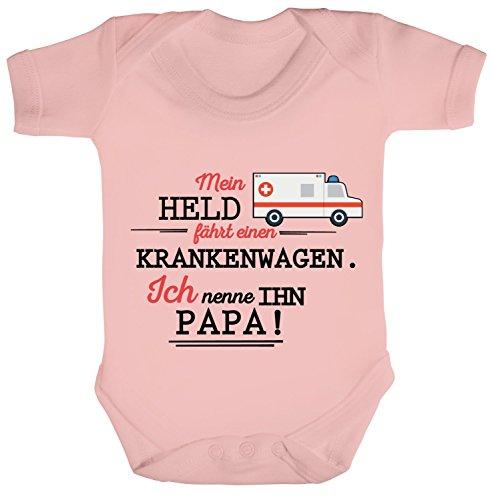 Zum Vatertag Rettungsdienst Strampler Bio Baumwoll Baby Body Kurzarm Jungen Mädchen Papa- Mein Held Fährt Einen Krankenwagen, Größe: 6-12 Monate,Powder Pink ()