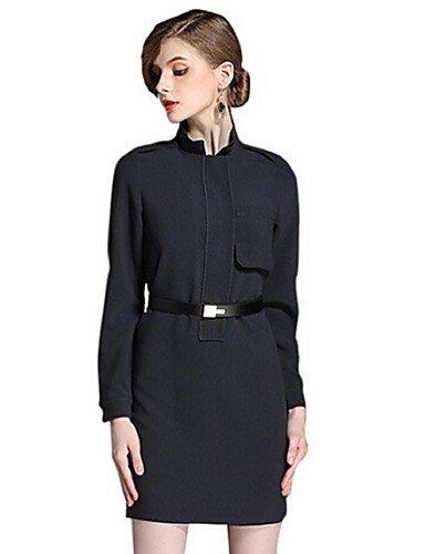 PU&PU Robe Aux femmes Gaine Simple,Couleur Pleine Mao Au dessus du genou Polyester BLACK-L