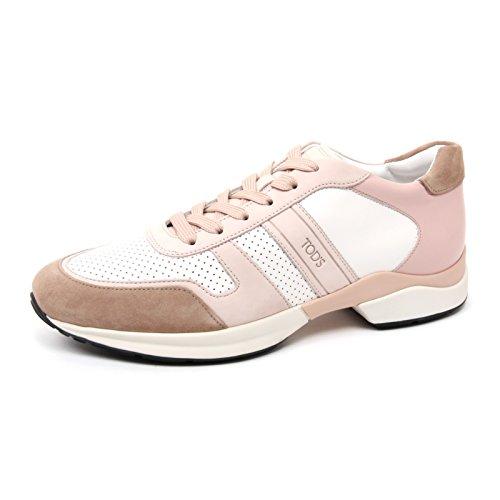 b4554-sneaker-donna-tods-derby-scarpa-sportiva-rosa-beige-shoe-woman-40
