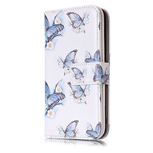 inShang Custodia per iPhone X 5.8 inch con design integrato Portafoglio, iPhoneX 5.8inch case cover con funzione di supporto. butterfly and flower