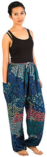 Lofbaz Women's Floral Eye Boho Harem Pants Bohemain hipster One Size