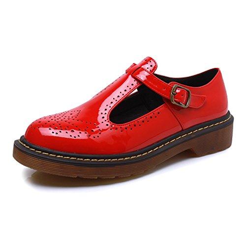 Smilun Damen Derby Damenschuhe mit Schnür Flach PU Leder Optik Loafer Rot EU40