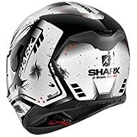 Shark d-skwal dharkov Moto Casco, Black White Red, XS