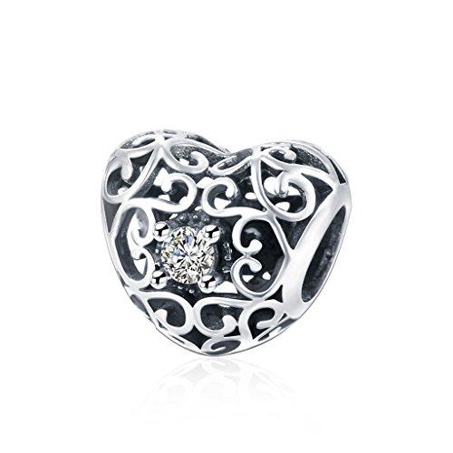 Hmilydyk cristallo bianco con zirconia cubica a forma di cuore, con perline in argento sterling 925pandora braccialetti europei