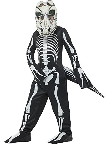 Smiffys, Kinder Unisex T-Rex Skelett Kostüm, Ganzkörper Anzug, Schwanz und Maske mit linsenförmigen 3D Augen, Alter: 4-6 Jahre, 48006