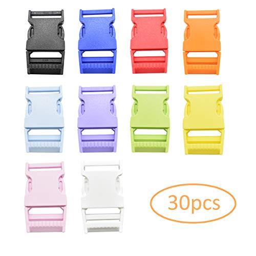 Zuzer Kunststoffschnalle,30PCS 25mm Klickverschluss Seitliche Freigabe-Plastikmini Schnallen für Rucksack-Zusätze Zelt Gurtband